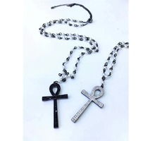 New Design SJYPQ34 Crucifix Necklace 925 Sterling Silver Cubic Zirconia Black and White Unisex Freshwater Pearl Cross Necklace