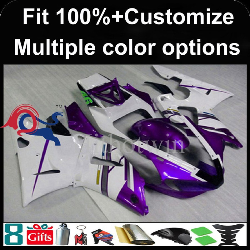 Injection mold purple white motorcycle cowl for Yamaha YZFR1 2000-2001 00 <strong>01</strong> YZF <strong>R1</strong> 2000 2001 00-<strong>01</strong> ABS Plastic Fairing