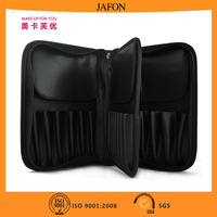 Large capacity soft pu cosmetic makeup bag with 29pcs brush holes