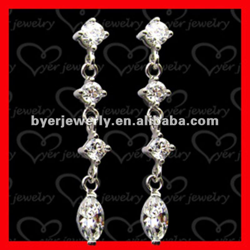 925 sterling silver 2013 fashion crystal long drop earring