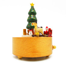 Custom logo printed wooden christmas music boxes