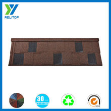 Stone coated coffee brown steel roofing tile