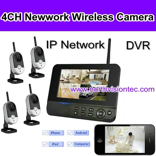 4 channel hi-tech cctv dvr with sound camera, 1TB, 32GB sd card, ISO/Android APP, 7 inch LCD, USB 2.0, night vision, AVI video