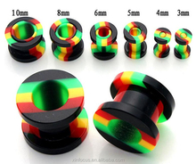 acrylic rainbow Ear Tunnels Gauges Ear Stretcher Expander Piercing Plugs Soft Flesh Tunnel Body Jewelry Plugs and Tunnels