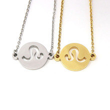 Fashion gold stainless steel 12 zodiac charm pendant necklace
