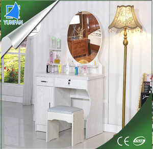living room furniture wooden dressing table with mirror and stool