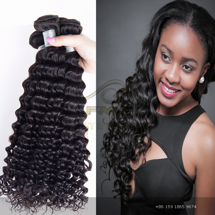 2017 FMT Hot Sale Top Quality Deep Wave Hair Extension, 100% Unprocessed Brazilian Remy Human Hair