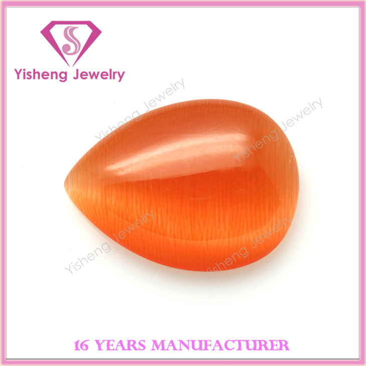 newest pear shape yellow citrine cabochon cat's eye stone wholesale