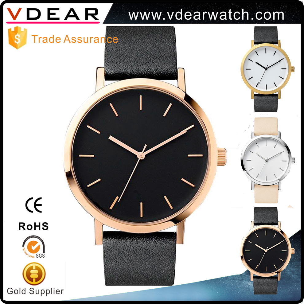 China manufacturer OEM simple type gold case stainless steel caseback japan movement your logo custom mens watch