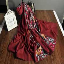 2017 China spring floral design blend shawl scarves embroidered polyester viscose mix scarf