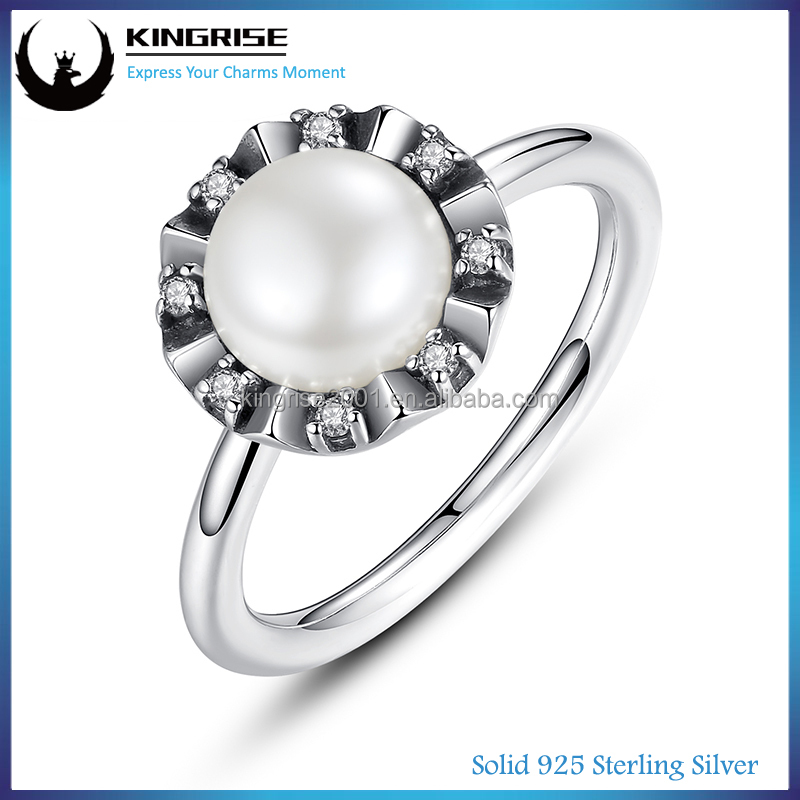 Wholesale Everlasting pearl Fashion Silver Ring For Men And Women Vogue Jewelry Wedding Rings