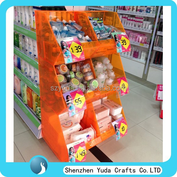 Cosmetic shop display rack mass capacity skin care product display rack for sale