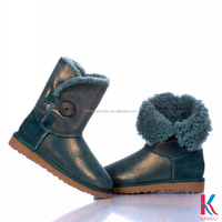 wholesale cheap double face sheepskin bailey button crotch boots for girls