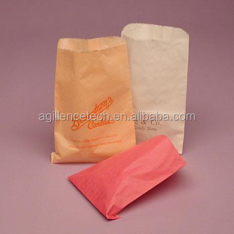 Glassine Lined Paper food Bags Wrapping White dry waxed paper sandwich bags