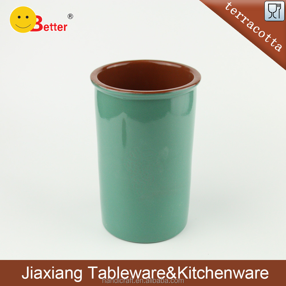 Terracotta Wine Bottle Table Cooler With Green Glazed
