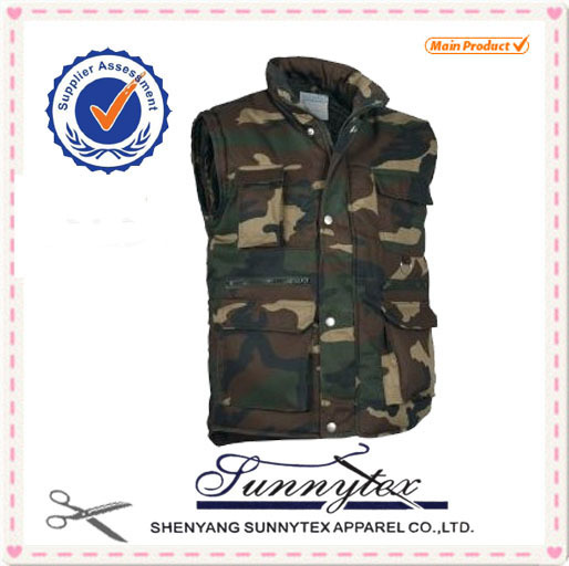 Mens Camouflage multi pockets winter padded outdoor Vest