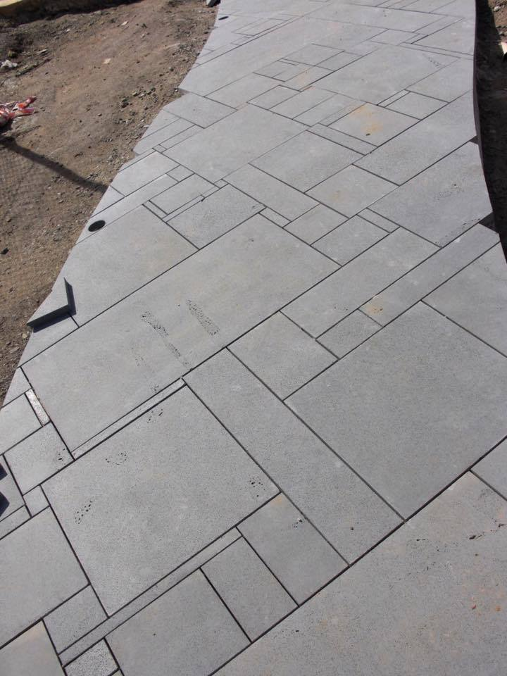 french pattern bluestone paving tiles