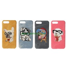 Luxury Cartoon Animal Dog Pet 3D Embroidery Jeans Pattern skin leather hard case for iphone7