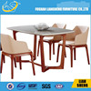 Foshan Liansheng Marble table top dining table with solid wood leg