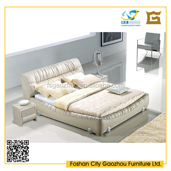 New model shrink leather bed furniture with metal legs