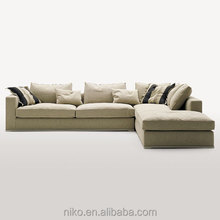 New Collection omega high quality cotton and linen fabric solid wood legs feather sofa set