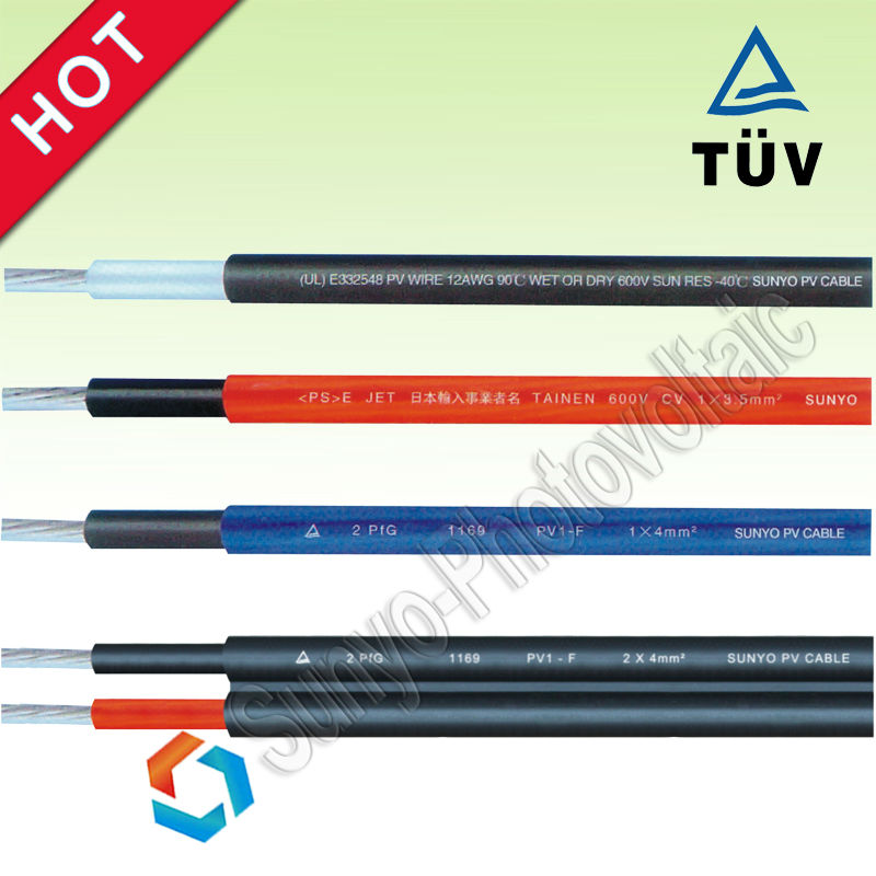 Solar PV Cable 2.5mm 4mm 6mm 2000V Copper PV Approved Sunlight resistant Black RED Color Solar System Cable
