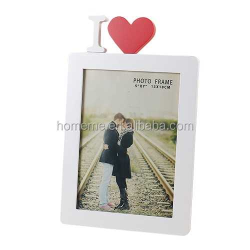 Wooden Photo Frame in White with one Heart in Red, I Love You, Contemporary Style, Picture Size 5x7 (I HEART in RED, 5 x 7)