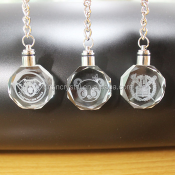 Hot sale blank 3d laser engraving crystal glass keychain for golf souvenir