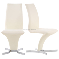 Graceful Z Shape Dining Chair White Synthetic Leather Cover