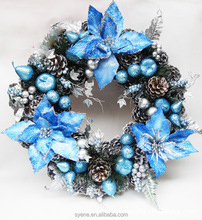 2015 new christmas wreath 12 inch high quality blue Christmas pinecone wreath decoration handmade flower wreath