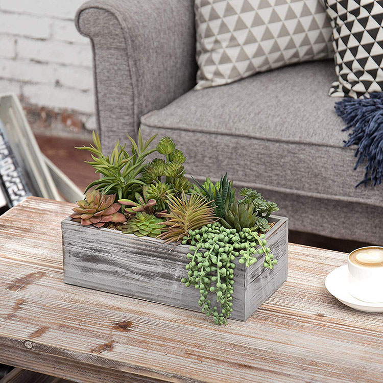Assorted Artificial Succulent Plants in Wood Planter Box for Home Decor