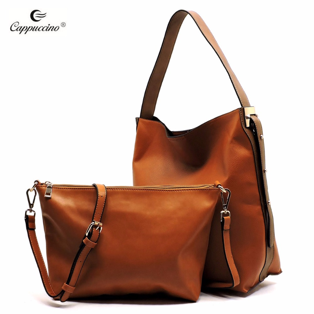 Cappuccino Custom vintage crazy ladies PU <strong>leather</strong> handbag tote bag wholesale