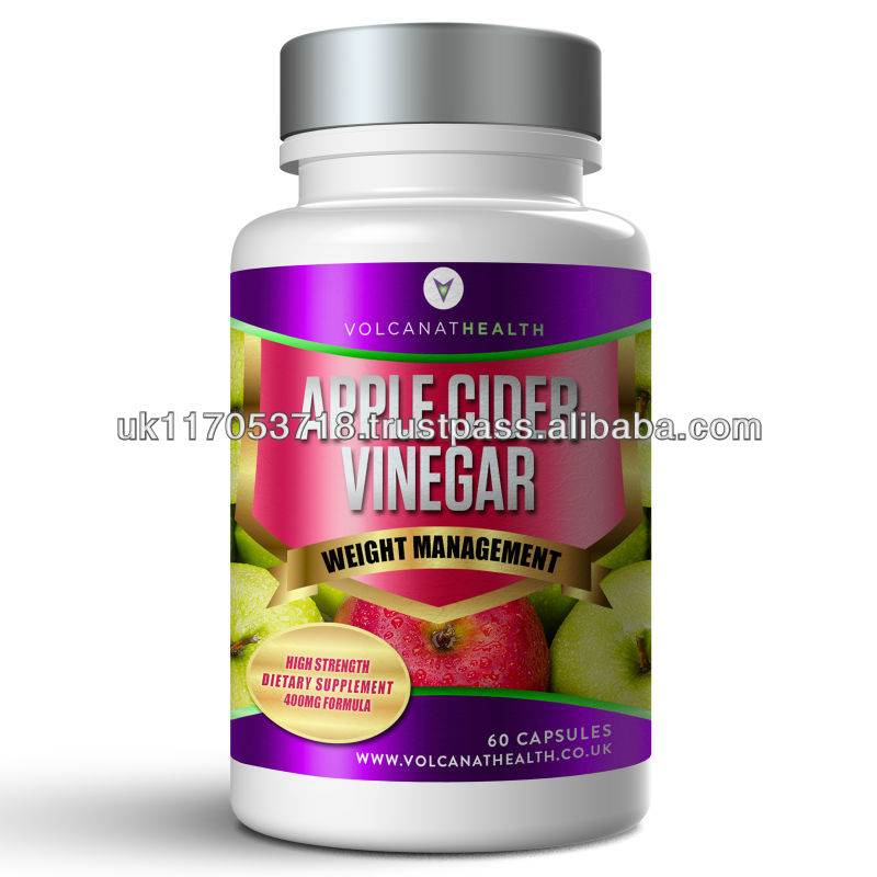Apple Cider Vinegar Capsules Diet Pills In Volcanat Health Premium Bottles
