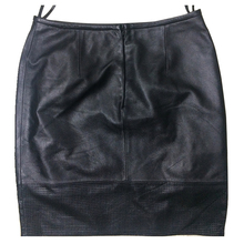 Custom made personalized 2018 high waist tight sex black genuine leather mini skirt for sale