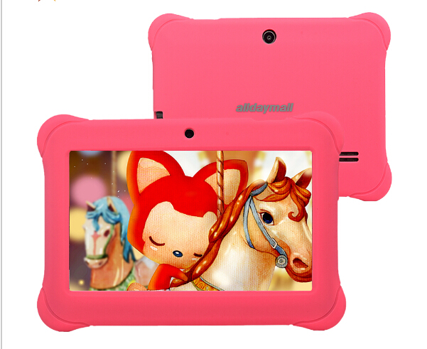"Alldaymall 7"" Kids Tablet Children Quad Core Android Camera 8GB HD Kids Edit iWawa Installed Pink Kid-Proof Silicone Case"