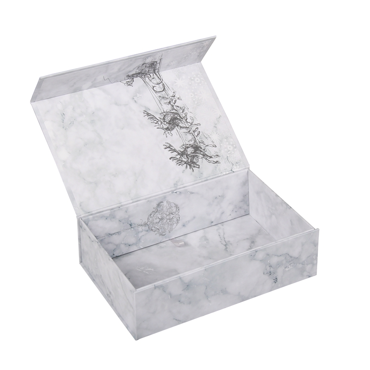 Unique design glossy white collapsible marble print folding paper gift box