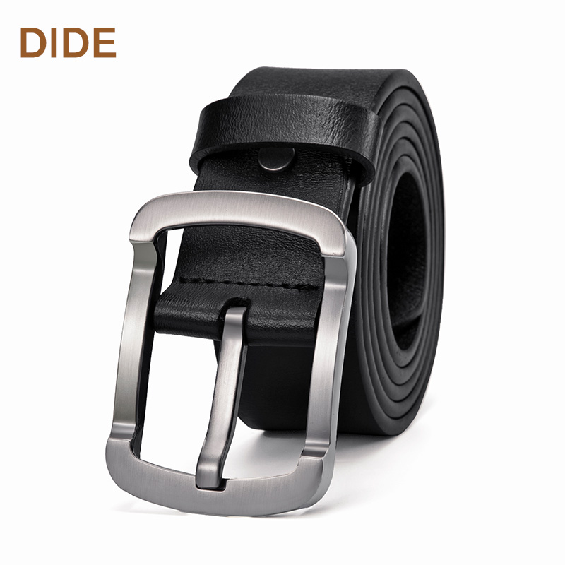 DIDE New Men's Solid Buckle Genuine Cowhide Leather Cowhide <strong>Belt</strong> For Men Business Style