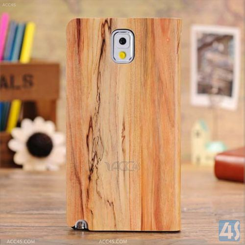 Wood Grain Front Window Design Leather Cover Case for Samsung Galaxy Note 3/N9000