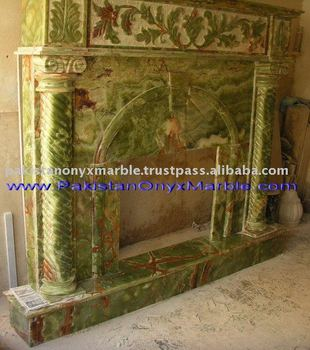 Dark Green Onyx Carving Fireplace