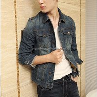 Wholesale High-end Designer Classic Vintage Biker Denim Jackets For Men