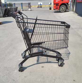 Black powder coating shopping cart with european style