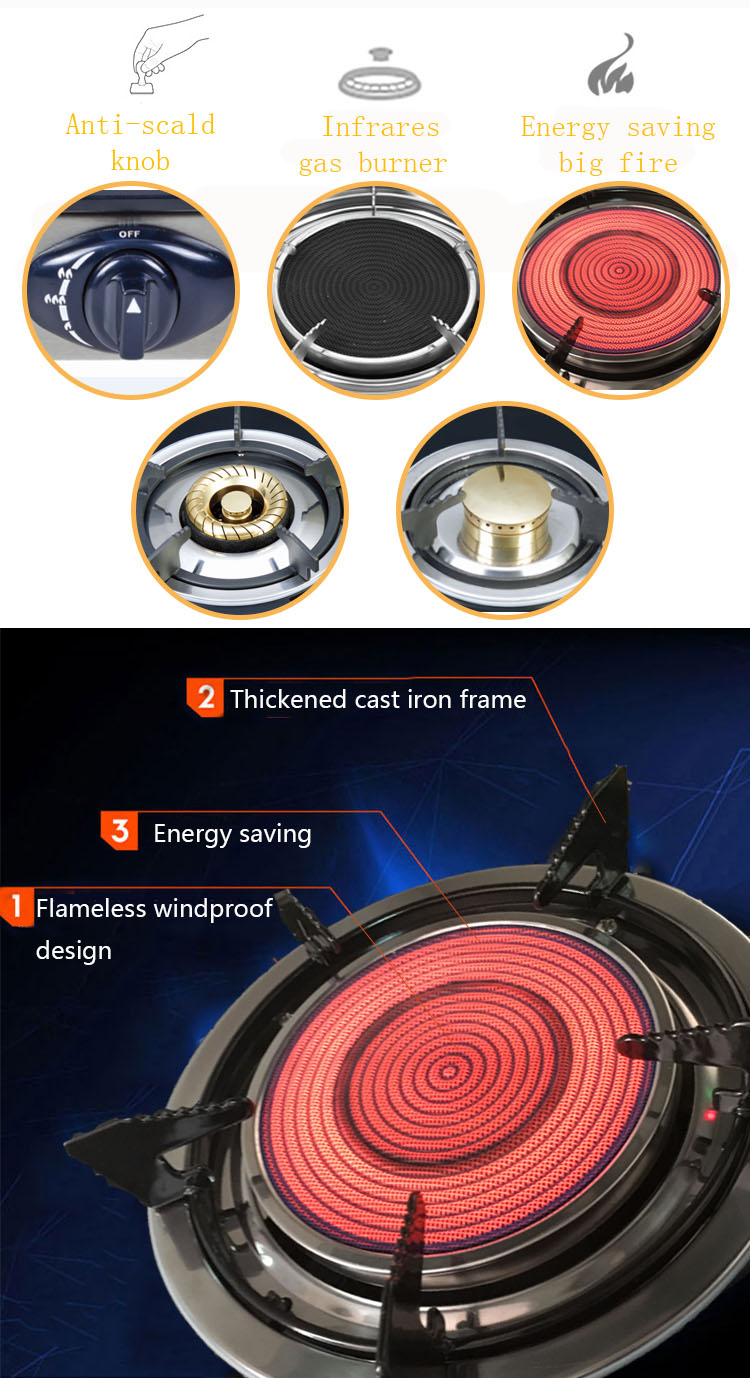 Chinese Brands Low Price Camping Tempered Glass Table Stand Infrared Cooking Gas Stove