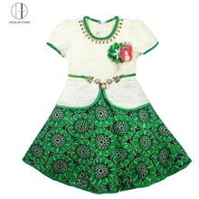 6101-1Green Haolaiyuan superior quality flower girl children lace dress patterns