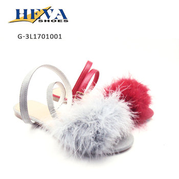 Hottest Fur Ornament with Unique Upper design Flat Sandals
