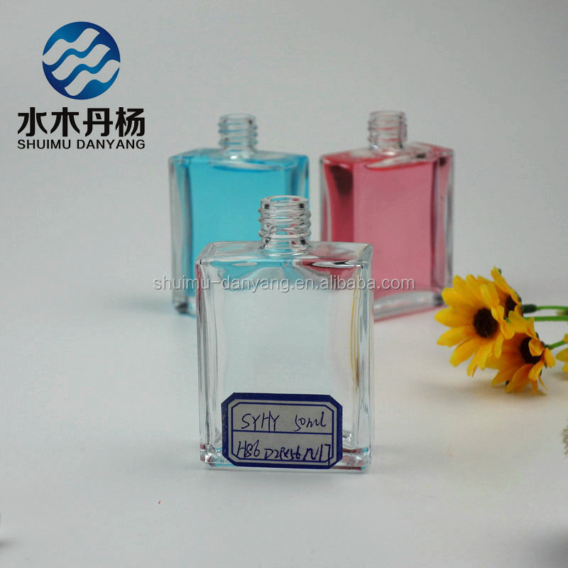 50ml french square fancy custom made empty perfume glass bottle for sale