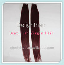 Unprocessed human brazilian red remy hair extension