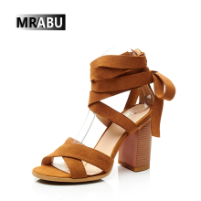 brown 9cm chunky heels genuine leather 2017 women party footwear beatiful ladies sandal shoes
