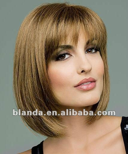 Charming short blond straight Bob bangs cosplay lady human hair full wigs gift