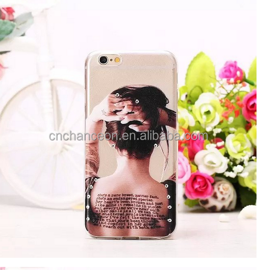 Super Soft transparent TPU mobile phone Case with rhinestone decoration For iPhone 6 CO-TPU-4009