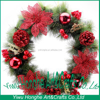 30cm glowing wreath with red flower ,hawaii flower wreath
